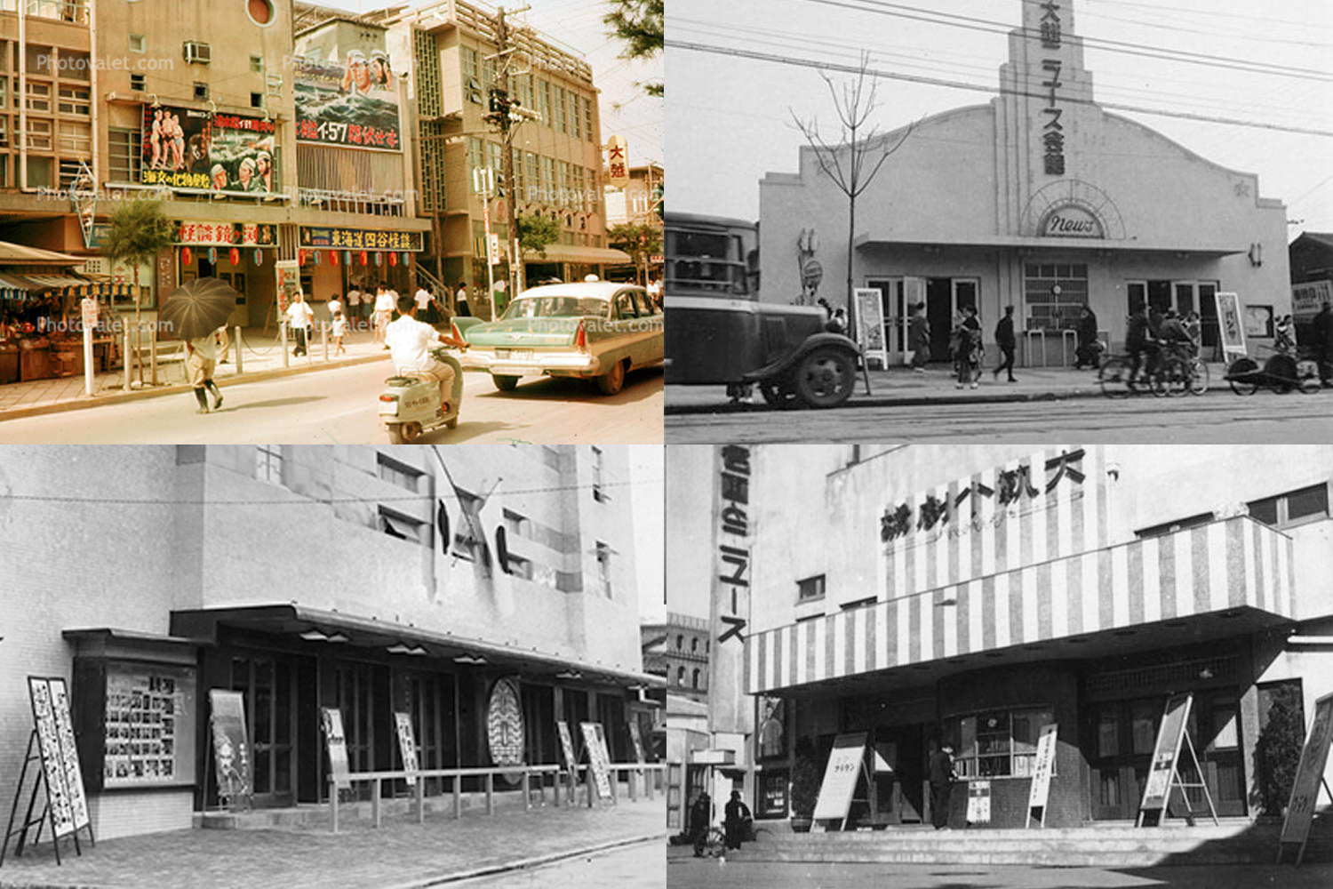 Historic photos of Japanese movie theaters showing STB poster display cases near roadsides