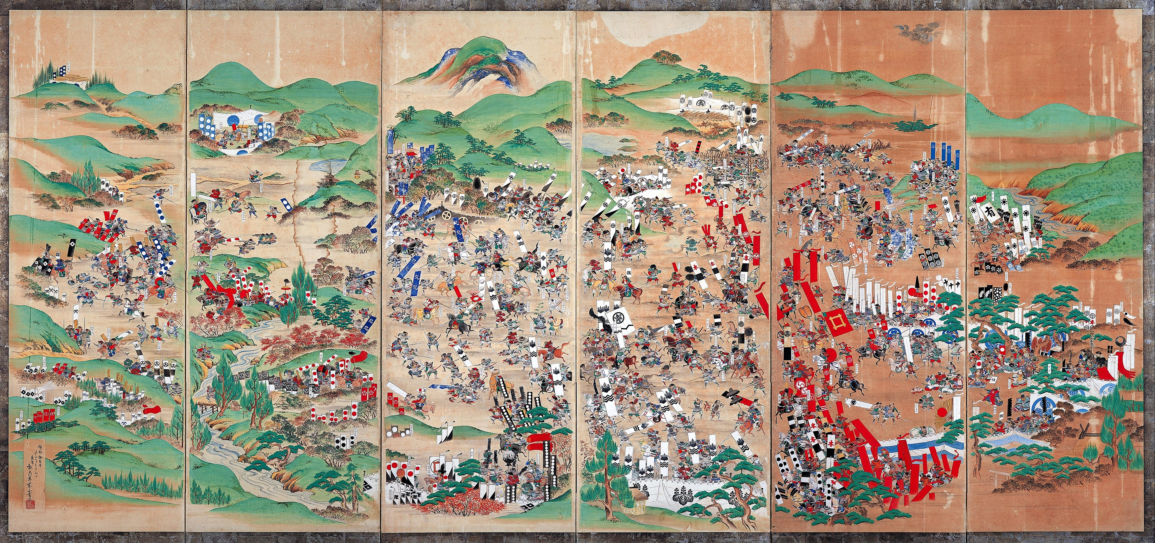 Historic use of nobori banners | 1600s Battle of Sekigahara screen