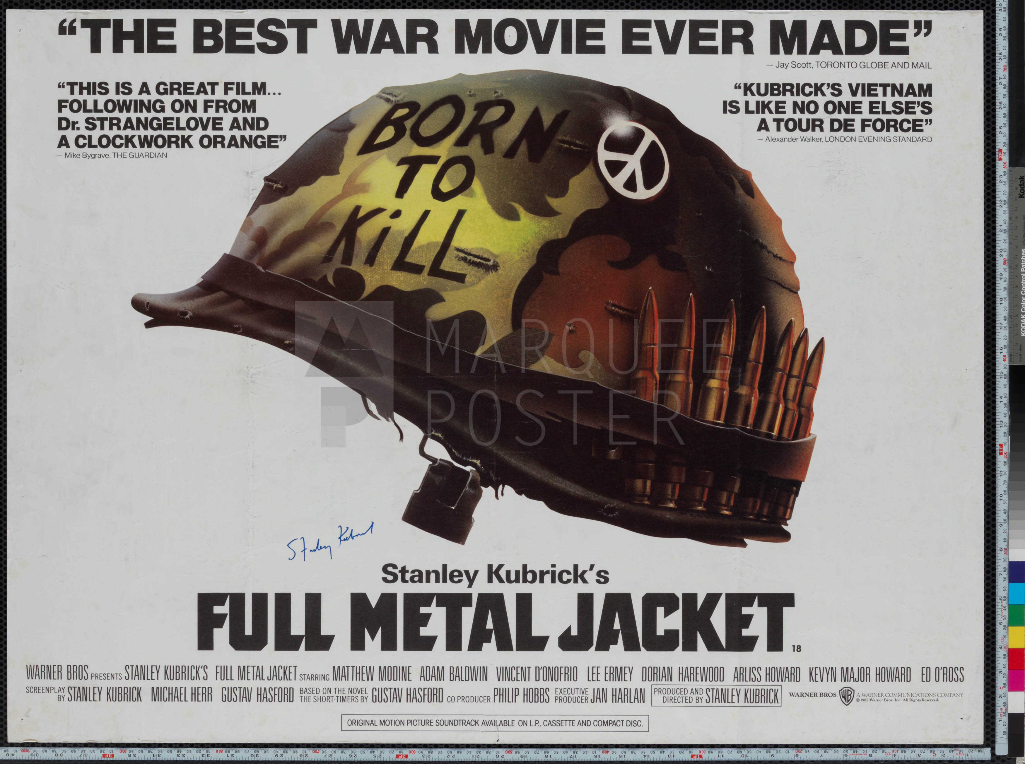marquee poster full metal jacket 1987 uk quad